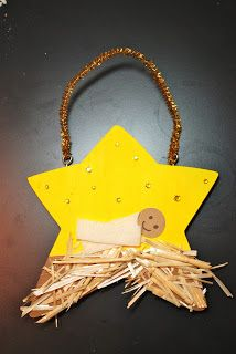 Christmas Decoration Craft for Preschoolers to make using card stars, raffia, rhinestone gems and a gold pipe cleaner