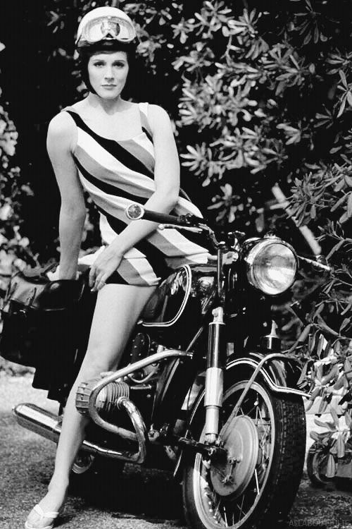 Julie Andrews on a motorcycle.