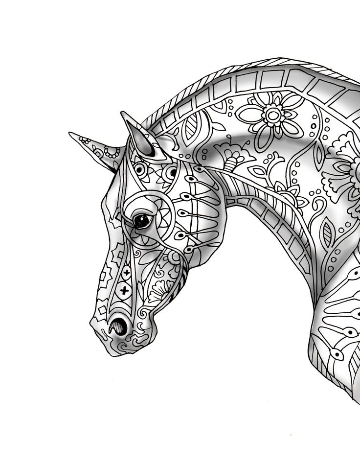 9 Free pages decorative horse profile