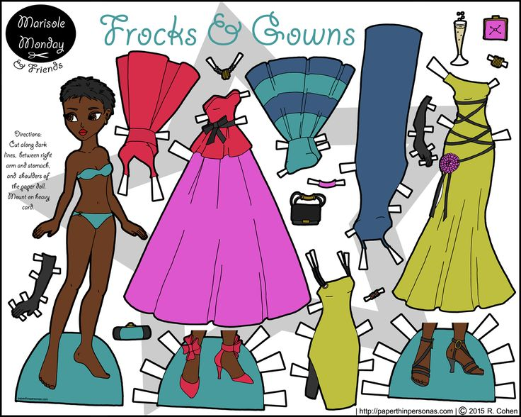 A printable paper doll of a young black woman with brightly colored cocktail and evening gowns
