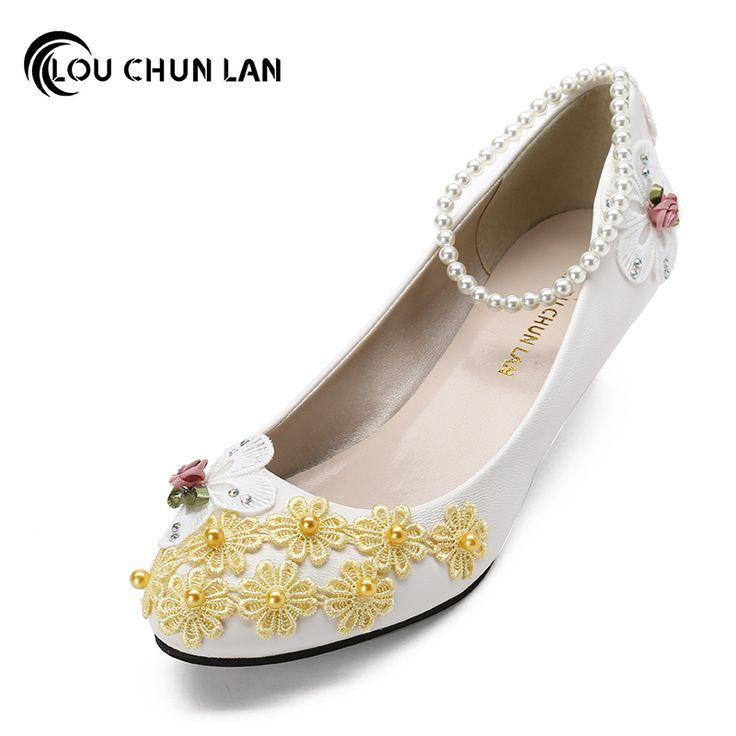 Yellow Color handmade Flower Wedding Shoes bride and bridesmaids Low-heeled Shoes lace Shoes performance Shoes Female #Affiliate