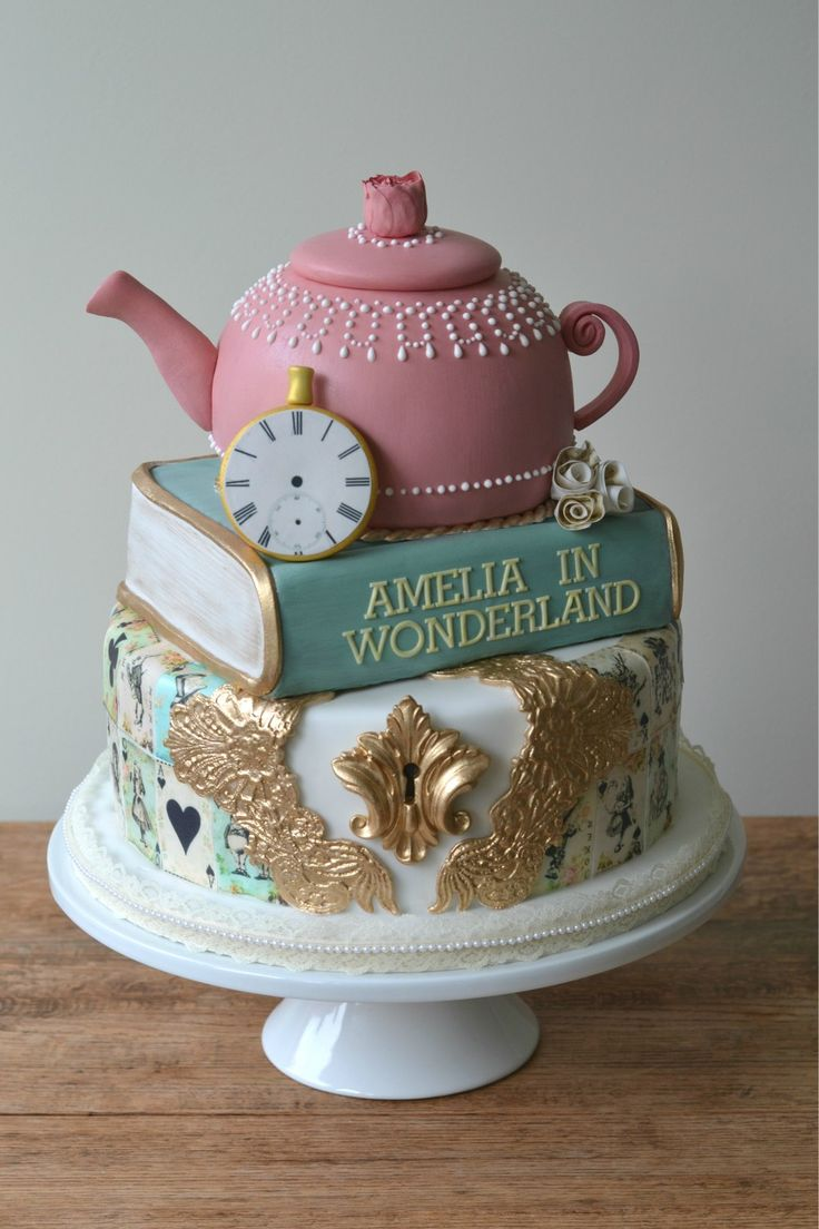 A very merry unbirthday, to you! A whimsical Alice in Wonderland 1st birthday cake