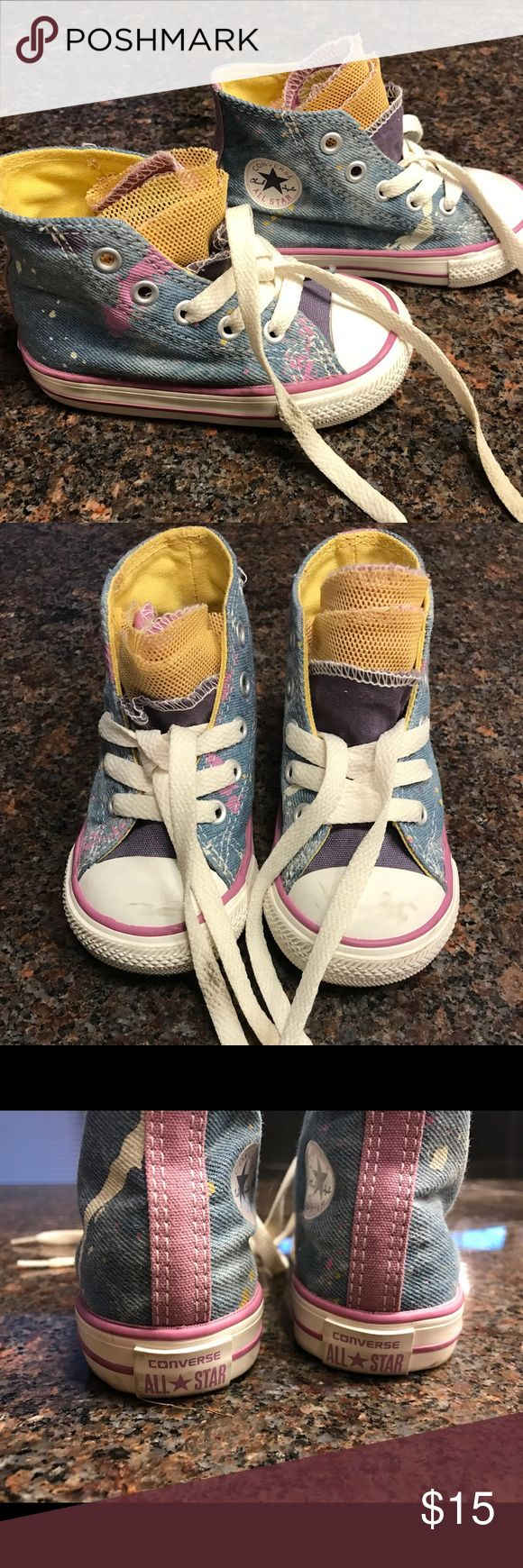 Toddler Girl's Size 5 Converse High Tops Barely worn size 5, Toddler Girl Converse High Tops.  These stylish sneakers look best with the tongues fluffed out to show their colorful yellow/purple/pink layers! Converse Shoes Sneakers