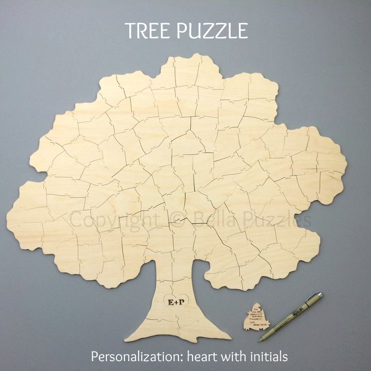 TREE puzzle guest book for your fall wedding. Rustic and simple. Fun and modern. Your guests will love it. Frame it after the wedding to display in your home! Customized with your initials in the tree trunk. Handcrafted by Bella Puzzles.