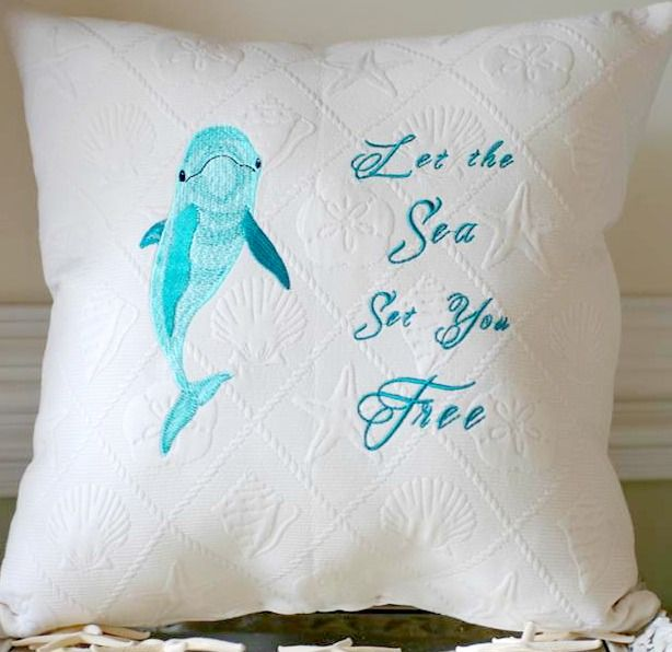 Dolphin pillow. Hand Embroidered. Let the sea set you free! https://www.etsy.com/listing/214663551/embroidered-dolphin-pillow-let-the-sea