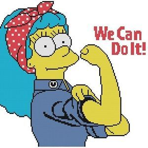 Cross Stitch Knit Crochet Plastic Canvas Waste Canvas Rug Hooking  Perler Bead Work Pattern  This is Marge Simpson as Rosie Riveter! This  pattern comes printed on 2 pages which is 15 squares printed per inch of paper.  This pattern is 140 X 140 Stitches (Squares) This pattern uses only 8 colors. https://www.pinterest.com/resparkled/