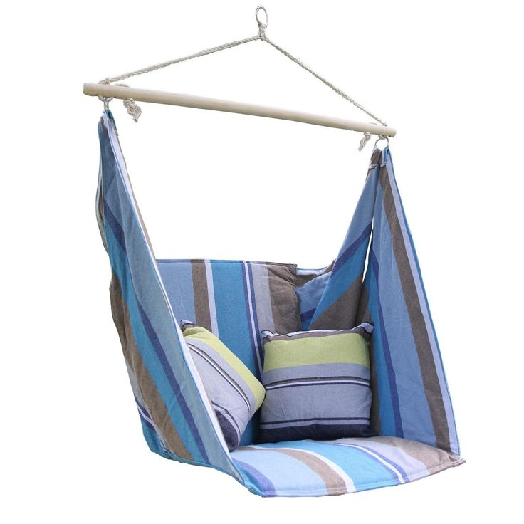Add Comfort To Any Space With The Adeco Blue Cotton Fabric Hanging Chair  With Pillow.