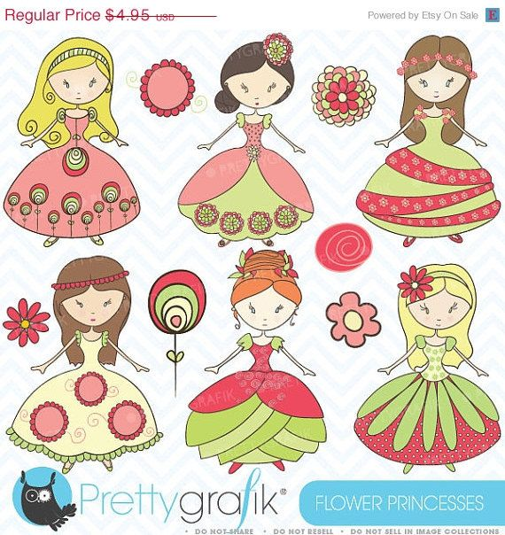 60 OFF SALE royal princesses clipart by Prettygrafikdesign on Etsy, $1.98