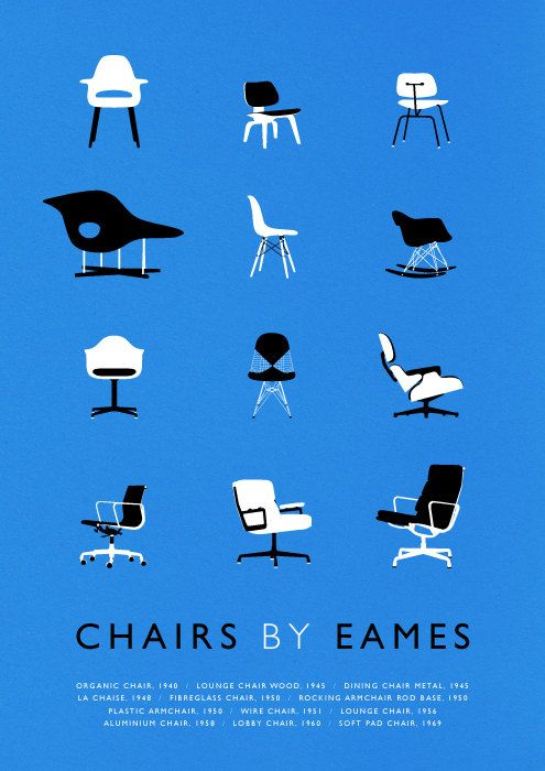 Eames poster art print Mid Century Modern Chair illustration Retro on Etsy