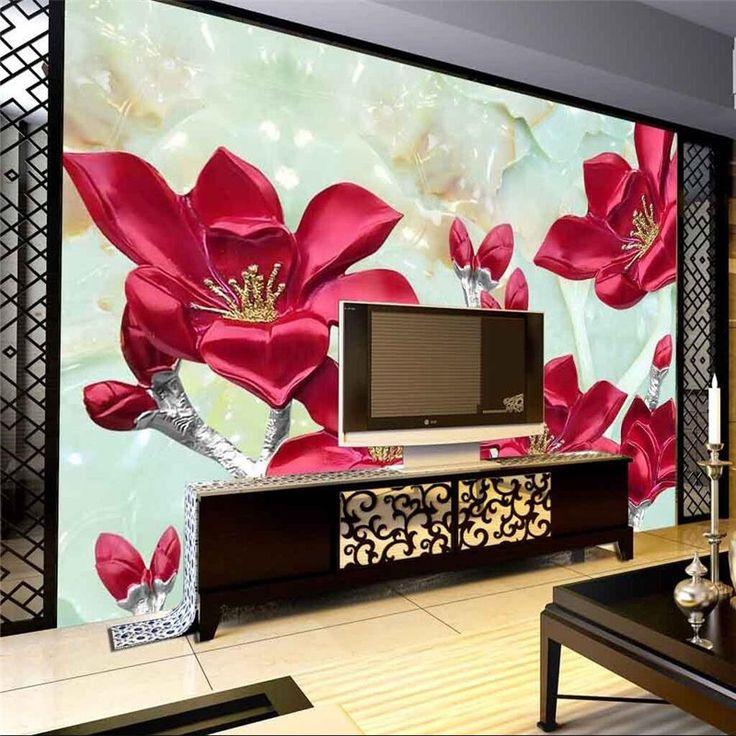 Beibehang 3D Duvar Kağıdı Mermer oturma odası yatak odası TV arka plan kabartma çiçek lily 3d büyük duvar modern boyama(China (Mainland))