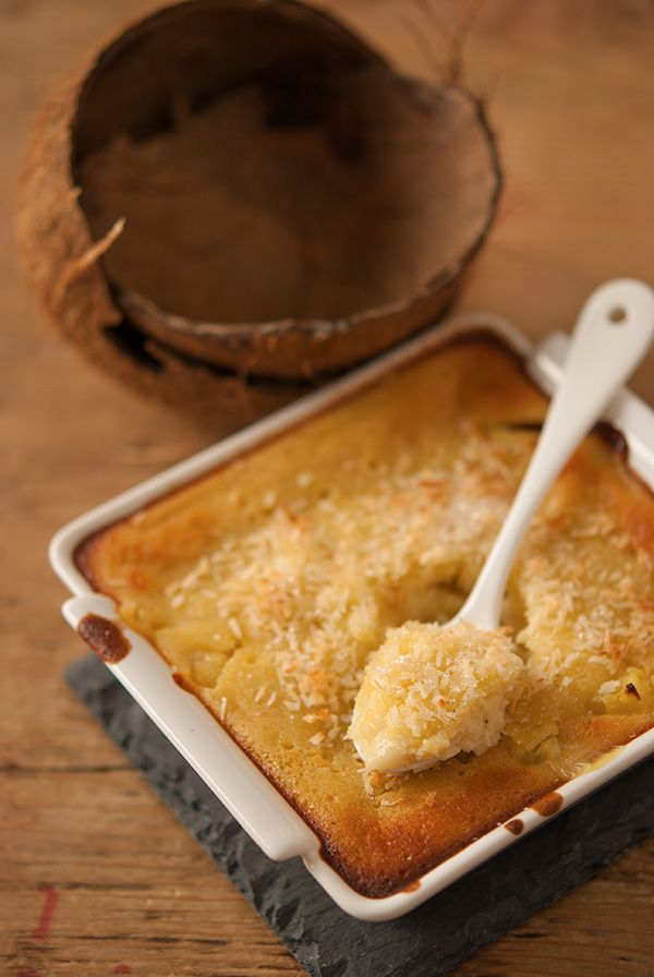 Clafoutis ananas coco sans gluten lait et crème de coco +coco râpé 4 oeufs un peu de farine de riz sucre