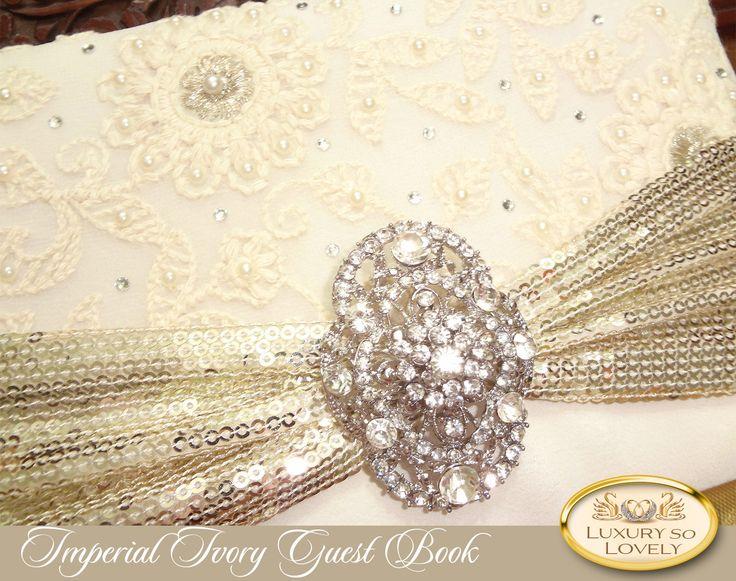 Clic Wedding Guest Book Elegant Ivory Pearl