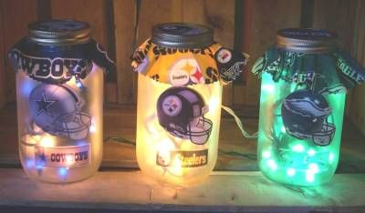 For all you sports fans, here's a creative way to make night lights for children's bedrooms by using a mason jar and fabric!