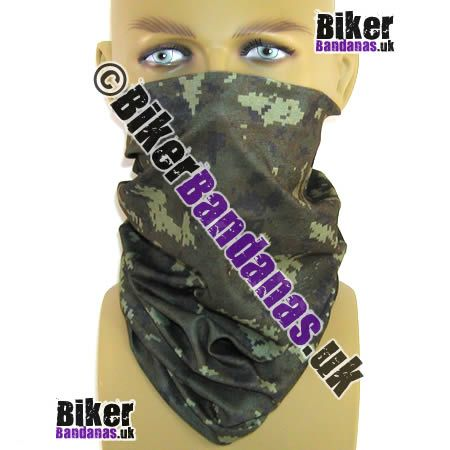 Woodland Forest Pixelated Digital Camouflage Multifunctional Headwear / Neck Tube Bandana.  One of over 400 Styles for Men and Women