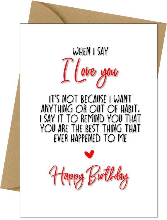 Birthday Card Romantic Love Wife Husband Boyfriend Girlfriend Birthday Quotes For Her Happy Birthday Boyfriend Quotes Wife Birthday Quotes