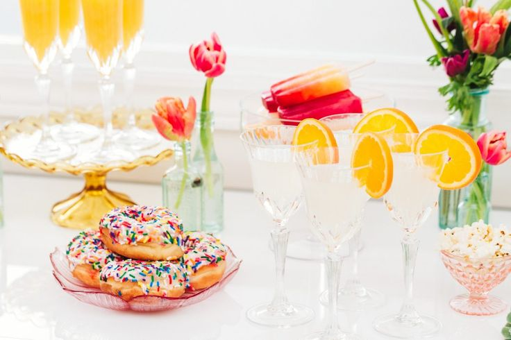 Sprinkled donuts, cocktail bar, sweet table, colourful wedding; Cocktails & Chill - Wedding Inspiration Gallery - Gina Humilde