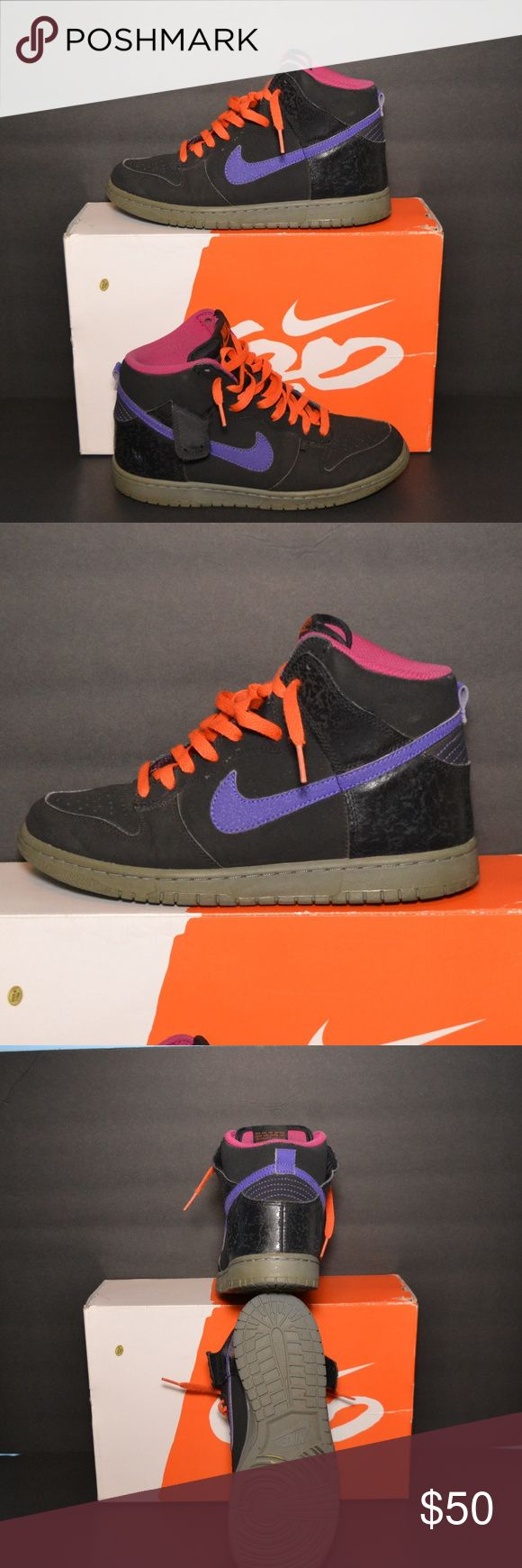 Shoes (Nike Dunks) Co diction: Used Color(s): Black, Orange, & Purple Size(s): US (Men) 8.5 UK 7.5 Euro 42 CM 26.5 Description: Orange, black & purple high-top Nike Dunks   Nike Nike Shoes Sneakers