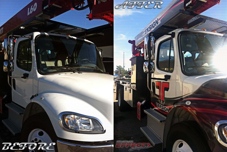 """A job complete! The before and after shot explains the transformation. The newest member of TekSign's fleet: """"Dorothy Ann"""" is the first to have be wrapped up with the new graphic designs. Graphics designed, manufactured, and installed by Side Effects Graphics."""