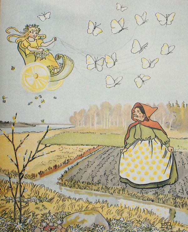 The arrival of the Spring Fairy by Elsa Beskow in 'Olles skitocht' (Ollie's Ski Trip)