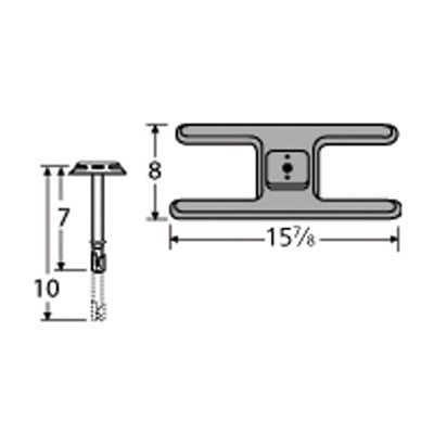 Heavy Duty BBQ Parts 20101-70401 Cast Iron Burner with Straight Venturi for Charmglow Brand Gas Grills