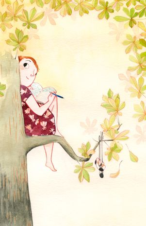 illustration, figure, child, girl, sitting, behind, looking back, book, tree, frame. Merel Eyckerman