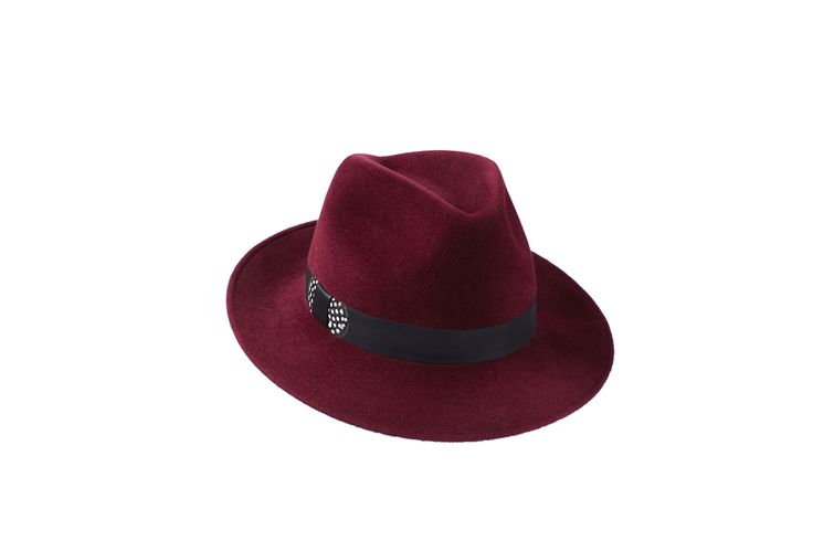 The Amber Trilby Collection | Burgundy | Leather & Guinea Fowl Feather Band www.penmayne.com #trilby #hats #accessories