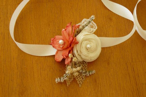 Wedding Corsage Sola Coral Wood by TheBloomingCorner on Etsy, $18.00