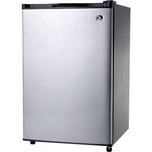 Igloo 4.6 cu. ft. Refrigerator and Freezer, Stainless Steel $129. Take out the large fridge and replace with mini fridge- put shelving over the fridge for storage.