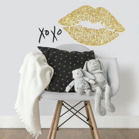 Give walls a glamorous makeover with XOXO Lip Peel and Stick Wall Decals with Glitter by RoomMates Decor.