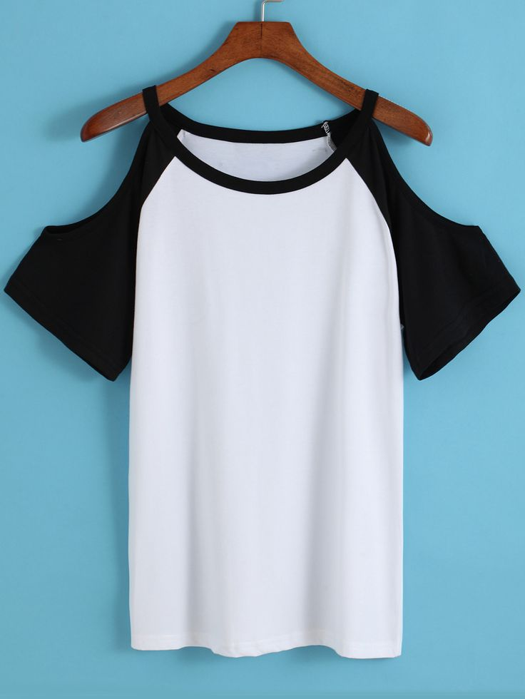Shop Colour-block Off the Shoulder Loose T-Shirt online. SheIn offers Colour-block Off the Shoulder Loose T-Shirt & more to fit your fashionable needs.