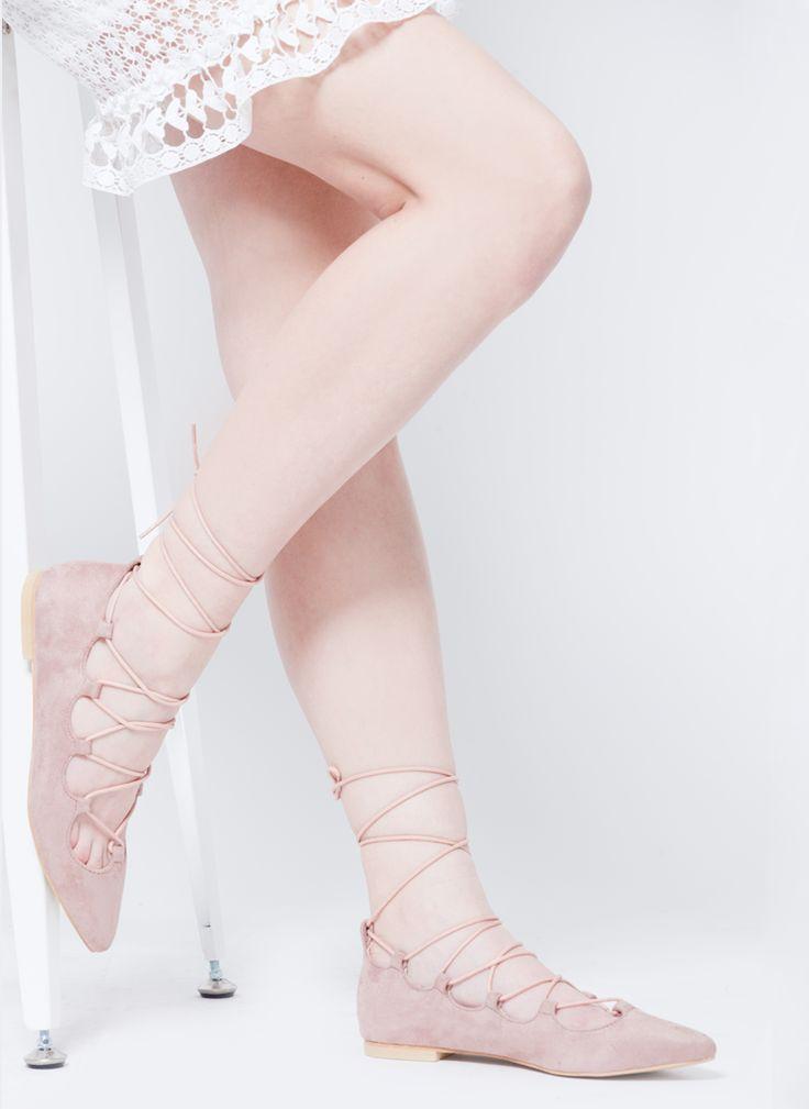BALERINY SZPIC SZNUROWANE ZAMSZOWE PUDROWY RÓŻ I FLAT LACE UP NUDE I  MONASHE.PL - Sklep online z modną odzieżą. Bluzki, sukienki, torebki, obuwie, akcesoria.