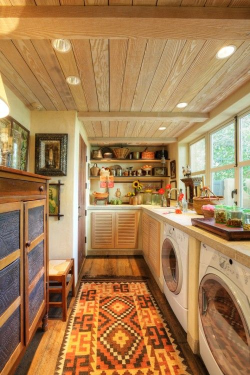 Combination laundry room / pantry / household storage room; perfect for storing rarely used items, seasonal decor, and larger serving pieces, in addition to dry goods and cleaning supplies and equipment.