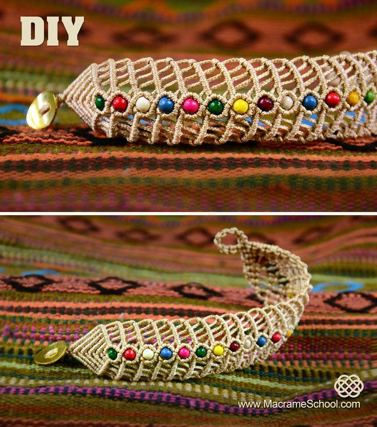 DIY Macrame Fishbone Bracelet with Beads #DIY #Macrame #Fishbone #Bracelet