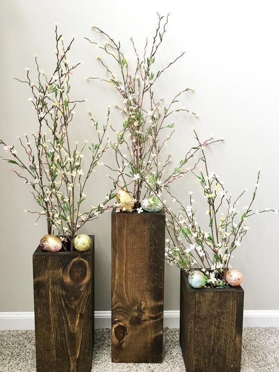 Wooden Vases Set Of 3 Rustic Floor Vases Farmhouse Decor