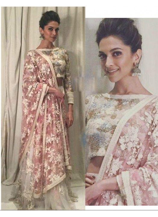 Deepika Padukone Chocolaty Pink Net Lehenga Choli