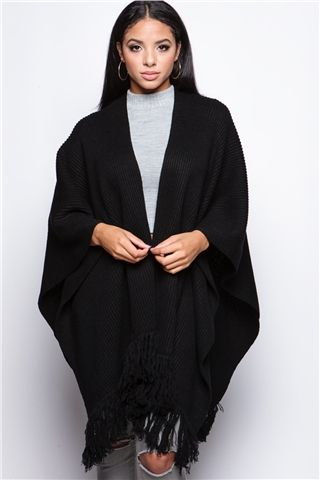 Gabrielle Black Tassel Cape at misspap.co.uk