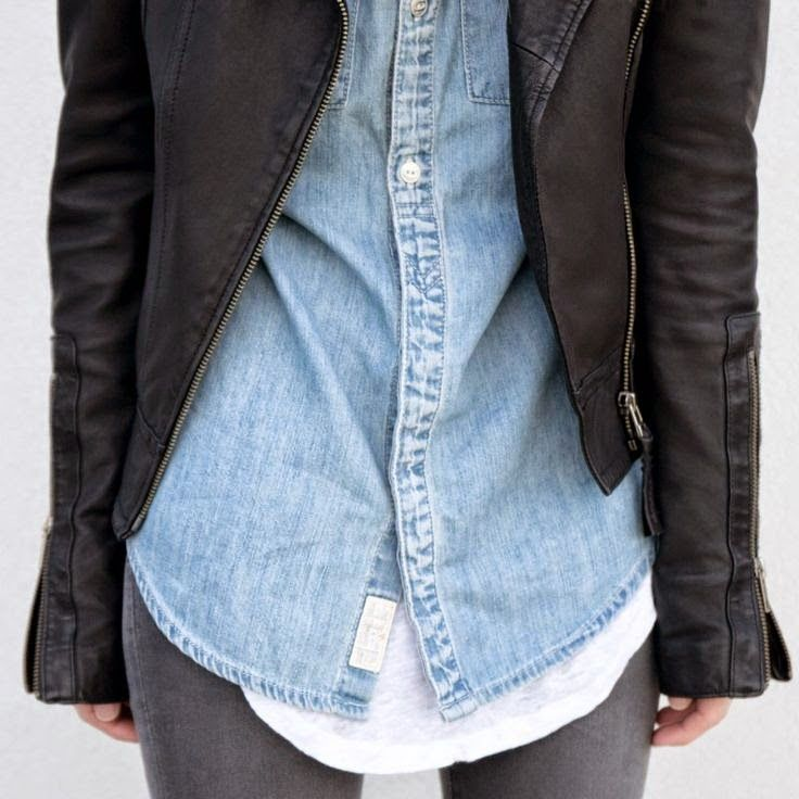 denim shirt, leather jacket, white T, grey jeans