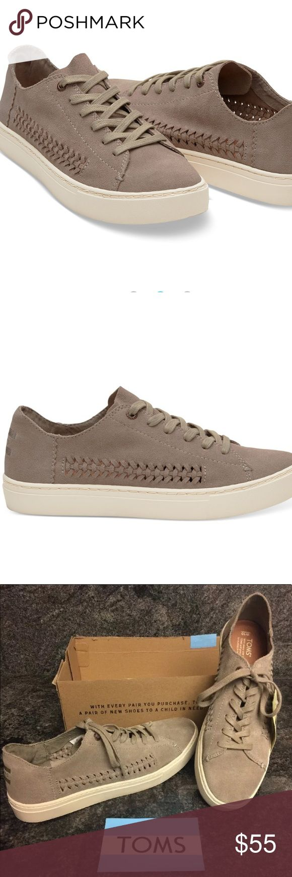 TOMS Desert Taupe Deconstructed Suede Woven Panel TOMS Desert Taupe Deconstructed Suede Woven Panel  Size 10  New  Minimal structure and unlined suede make this Lenox sneaker lightweight and flexible. The woven detail on this low-top sneaker gives it a unique flair. Taupe unlined suede upper Deconstructed Lenox silhouette Removable insole, sock liner that fights bacteria Rubber cupsole with traction Shoes are new with box but the box does not have a top. Right shoe has small blemish in the…