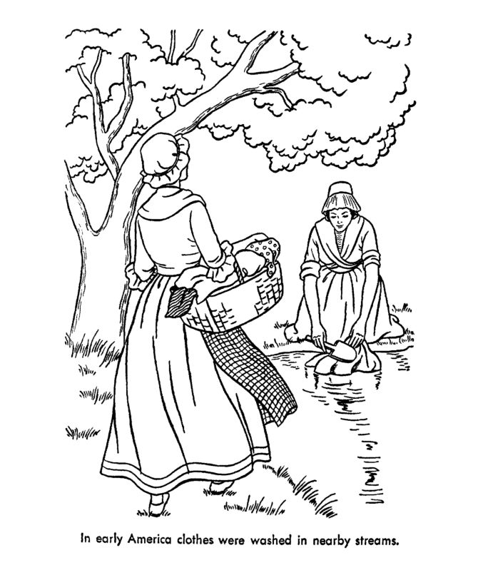 Early American Home Life Coloring Page Homeschool