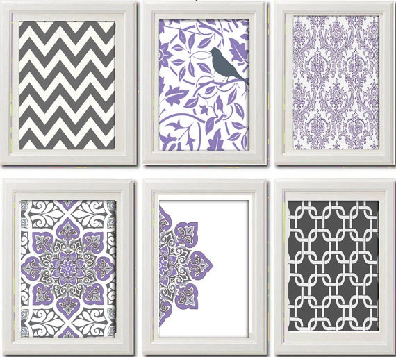 Lavendar Purple Wall Art Vintage Modern Inspired Collection -Set of 6 - 8 x 11…