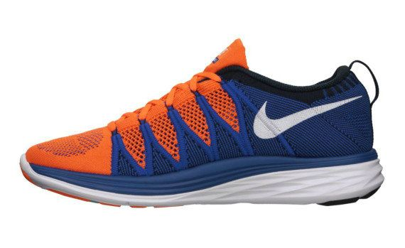0abcbbbffd42 Youth Big Boys Nike Flyknit Lunar2 Orange White Game Royal Dark Obsidian  620465 801