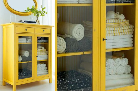 hemnes linen closet from ikea - awesome. Spruce it up with new hardware and it would make an awesome statement piece (in lieu of s barcart mayhaps???)