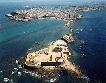 Birdview of Cadiz city, Costa de la Luz - Andalucia, Spain. (Cadiz, Spain is one of the oldest cites on earth. Established year 1100BC.