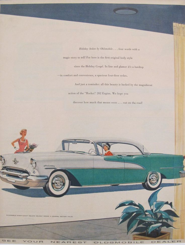 """1960s Matted American Car Advertisement, Holiday Sedan by Oldsmobile. A fabulous lithographic car advertisement printed in the 1960s featuring the Holiday Sedan by Oldsmobile and extolling its features (including the """"Rocket"""" 202 Engine!)."""