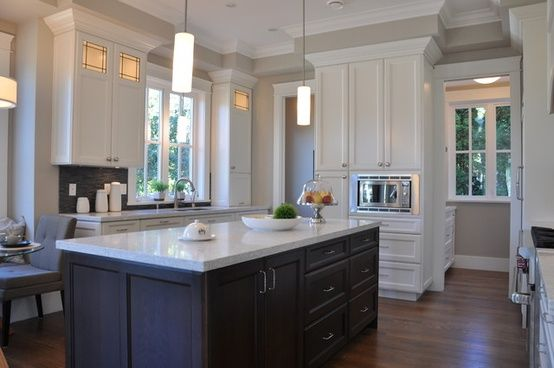 Revere Pewter walls, white cabinets, charcoal island