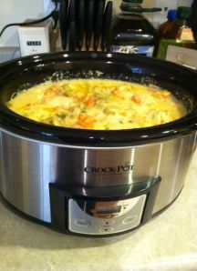 Creamy Homestyle Chicken Rice crock pot recipe. Super simple and tastes like the filling of a potpie.