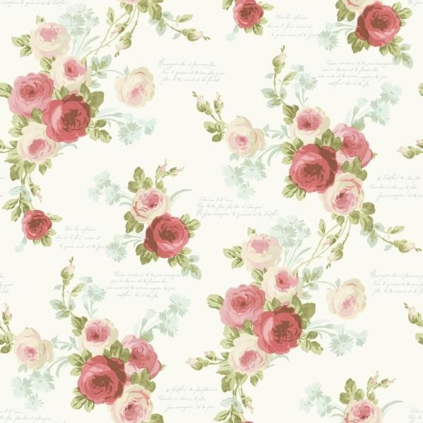 Magnolia Home by Joanna Gaines 56 sq. ft. Magnolia Home Heirloom Rose Removable Wallpaper, Pink/Blue
