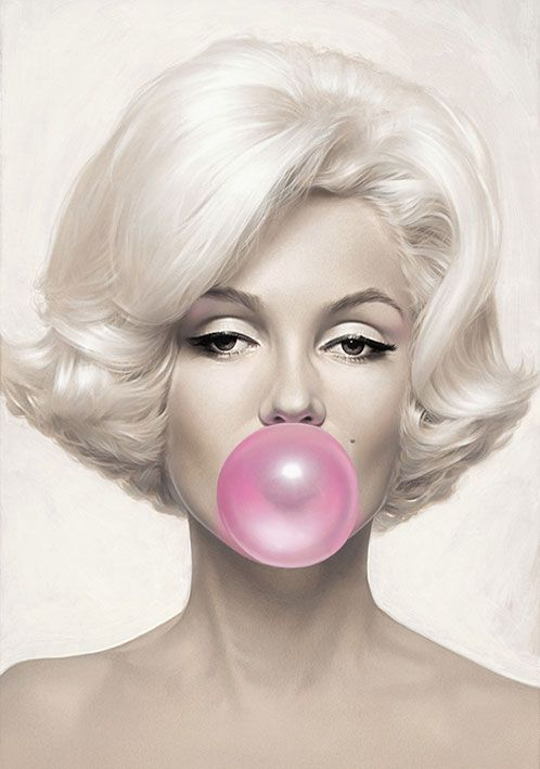 Marilyn Monroe blowing pink bubblegum - painting by Michael Moebius.