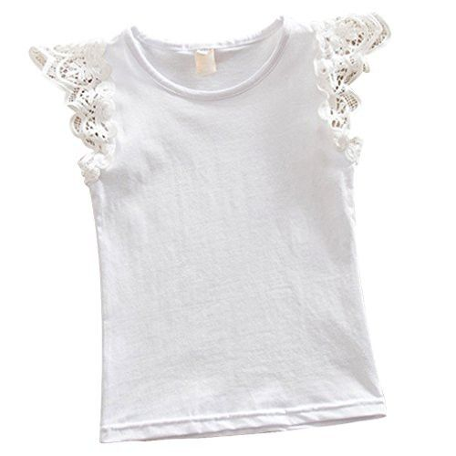 Kayla qin Baby Infant Girls Vest Tanks Tops Pure Cotton Wing Lace Basic T-shirt 3 -6 Month White