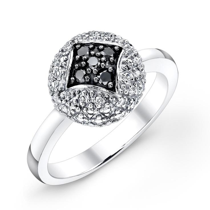 Fab.com | Black White Diamond Pave Ring